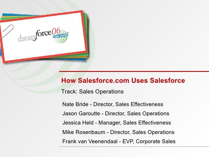 How Salesforce.com Uses Salesforce Nate Bride - Director, Sales Effectiveness  Jason Garoutte - Director, Sales Operations...