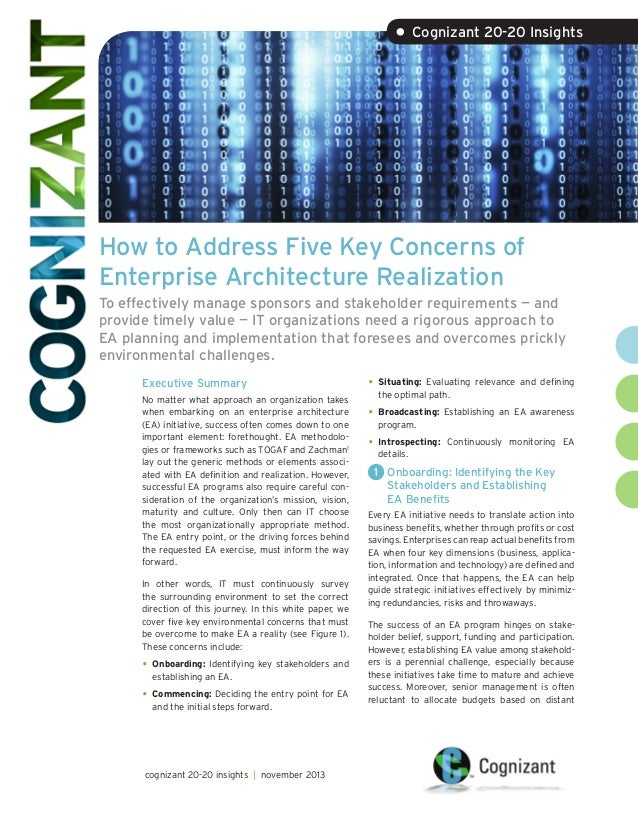 • Cognizant 20-20 Insights  How to Address Five Key Concerns of Enterprise Architecture Realization To effectively manage ...
