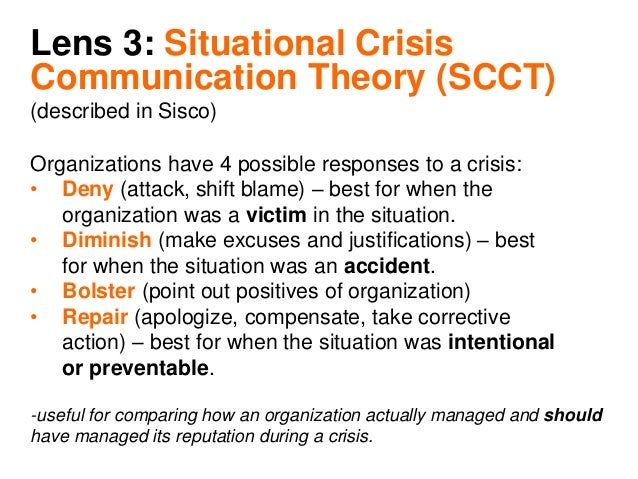 situational crisis communication theory thesis Paper further looks at two pertinent theories that touch on crises preparedness  these are chaos theory and situational crisis communication.