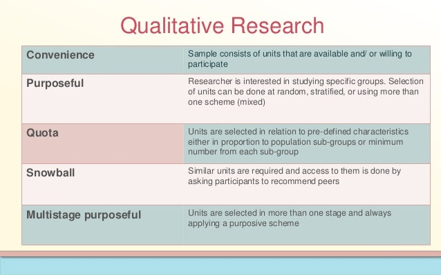 convenience sampling in qualitative research Differently, qualitative research sampling is not tended to ensure representativeness it mostly uses convenience, purposive, quota and snowball sampling for obtaining information about social groups in real life.