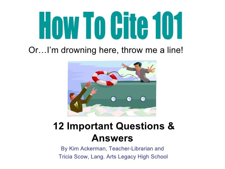 12 Important Questions & Answers By Kim Ackerman, Teacher-Librarian and Tricia Scow, Lang. Arts Legacy High School How To ...
