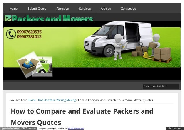 How to compare and evaluate packers and movers quotes
