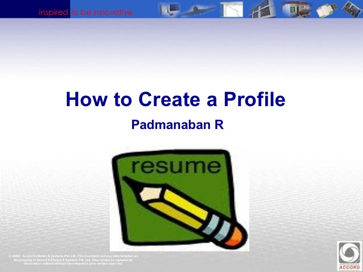 How to Create a Profile   Padmanaban R
