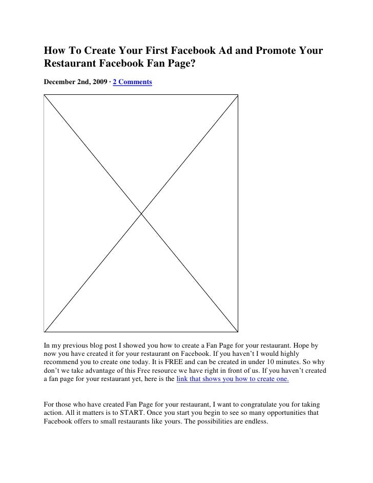 How  To  Create  Your  First  Facebook  Ad And  Promote  Your  Restaurant  Facebook  Fan  Page
