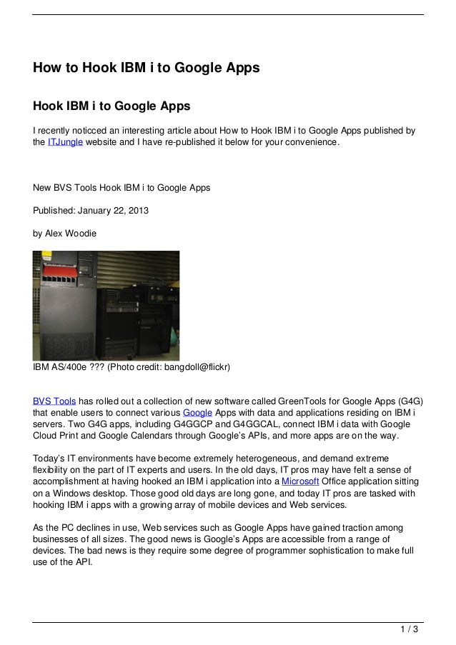 How to Hook IBM i to Google Apps