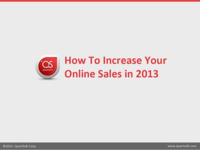 How to Increase Your Online Sales in 2013