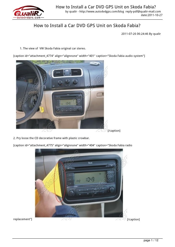 How to Install a Car DVD GPS Unit on Skoda Fabia?                                       by qualir - http://www.autodvdgps....