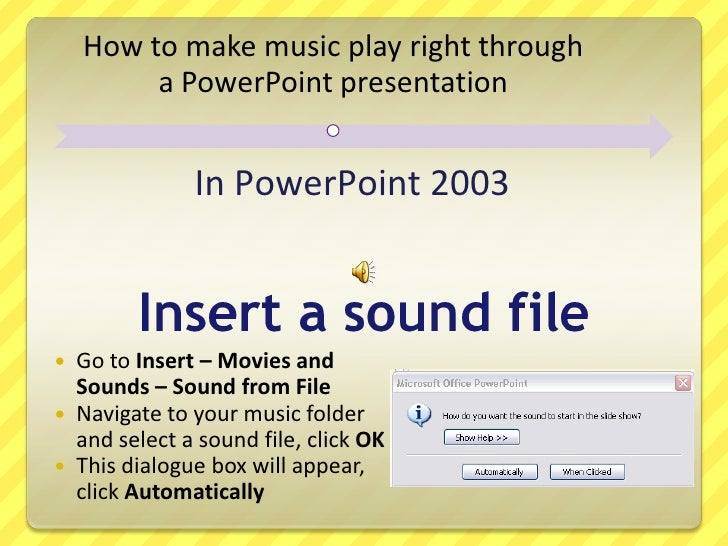 How do I keep background music playing in a Powerpoint presentation?