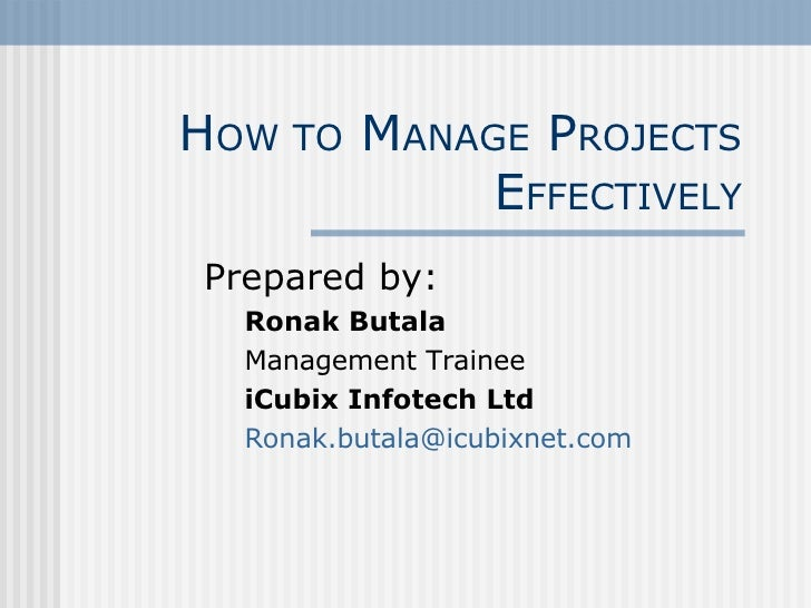 How to manage projects effectively pdf