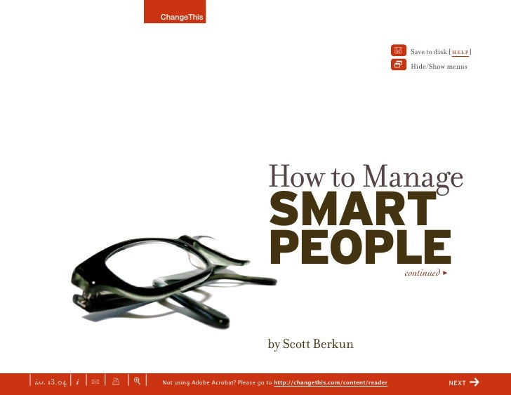 How to Manage Smart People (a ChangeThis manifest)