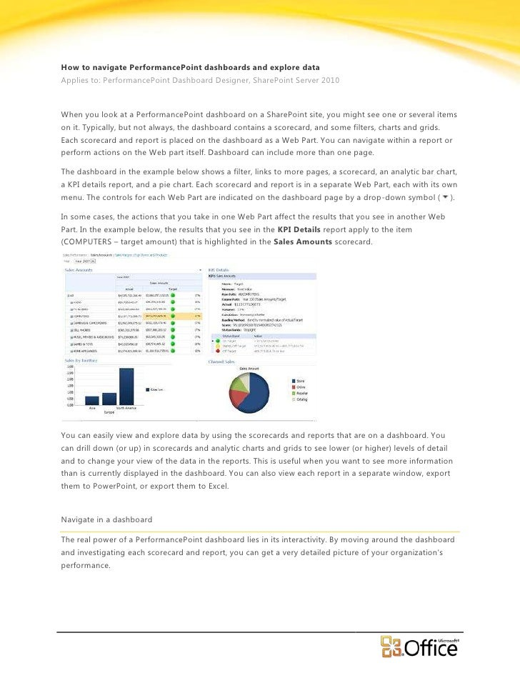 How to Navigate PerformancePoint 2010 Dashboards and Explore Data - EPC Group
