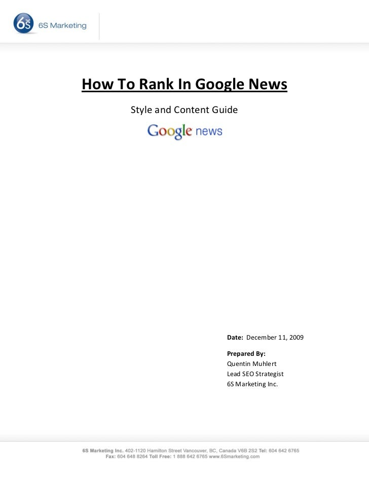 How To Rank In Google News