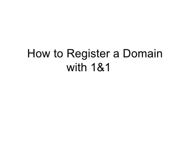 How To Register A Domain Name With 1&1