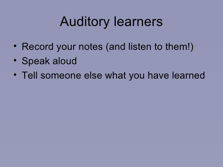 Auditory Learning: Best ways to revise?