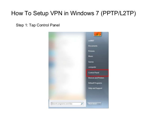 How to setup windows 7 pptp vpn