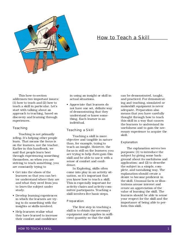 How To Teach a Skill