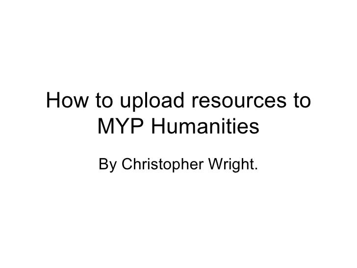 How to upload resources to MYP Humanities