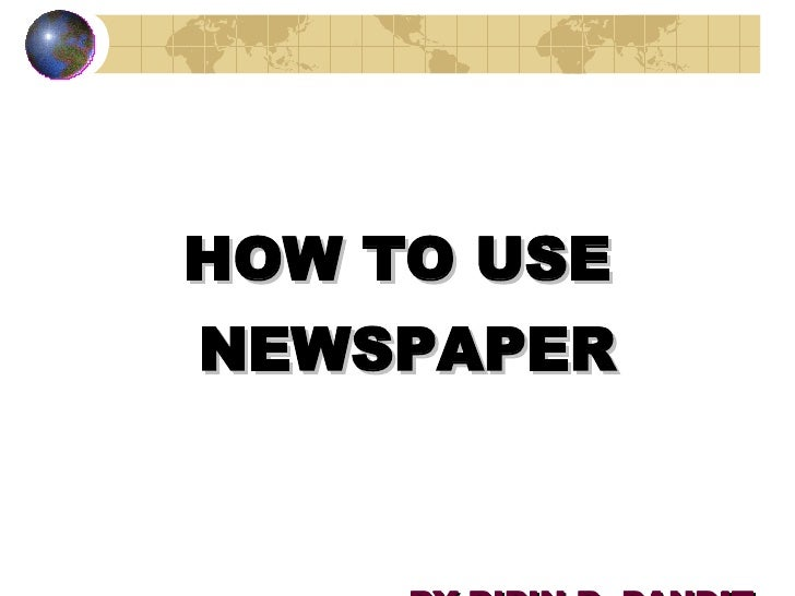 How To Use Newspaper