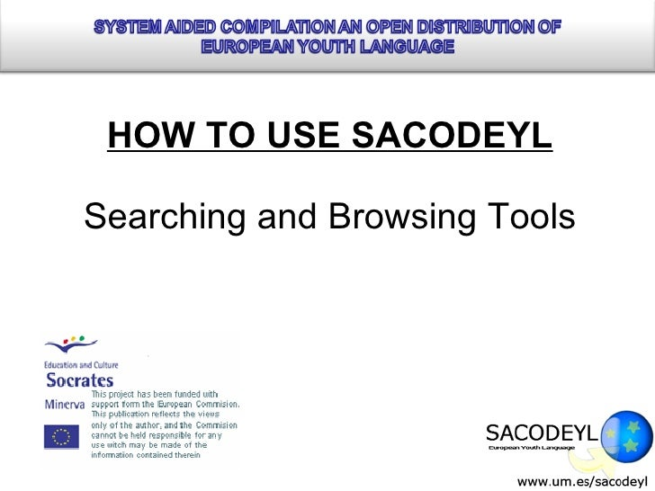 HOW TO USE SACODEYL Searching and Browsing Tools