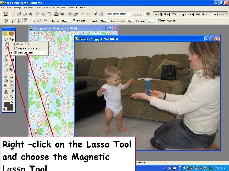 Right –click on the Lasso Tool and choose the Magnetic Lasso Tool