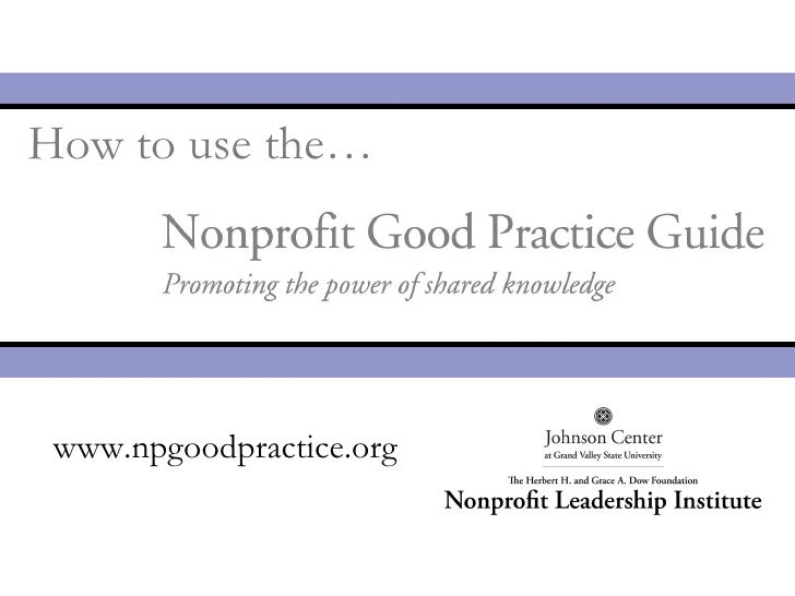 How To Use The Nonprofit Good Practice Guide