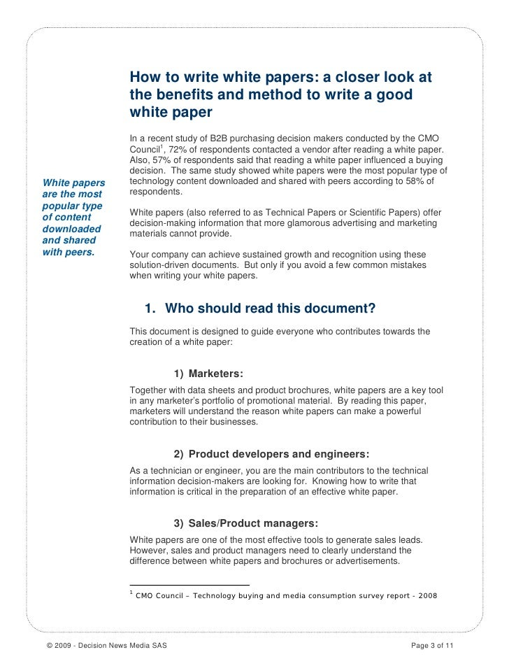 how to write a white paper outline