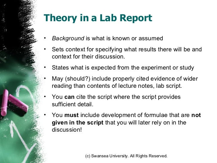 lab report theory Read this essay on moment lab report  however, it is still necessary to describe special pieces of equipment and the general theory of the assays used.