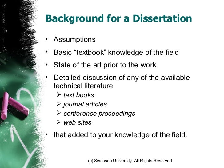 How to write a dissertation background