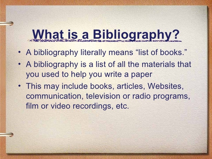 What a bibliography looks like