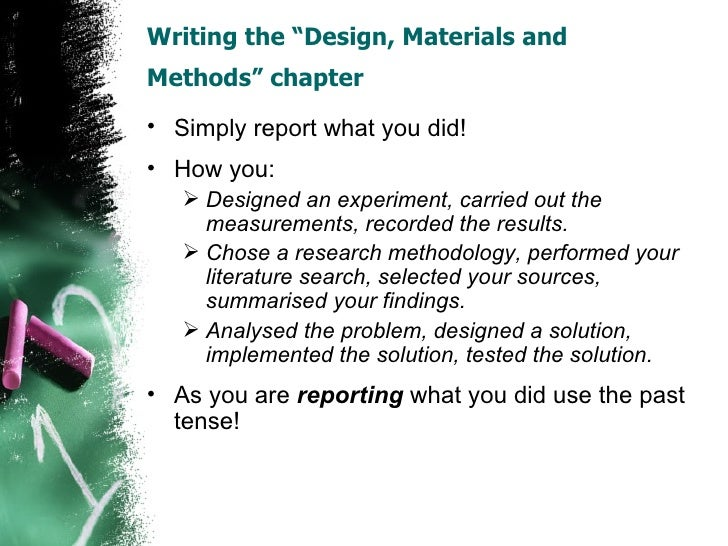 writing materials and methods in a thesis