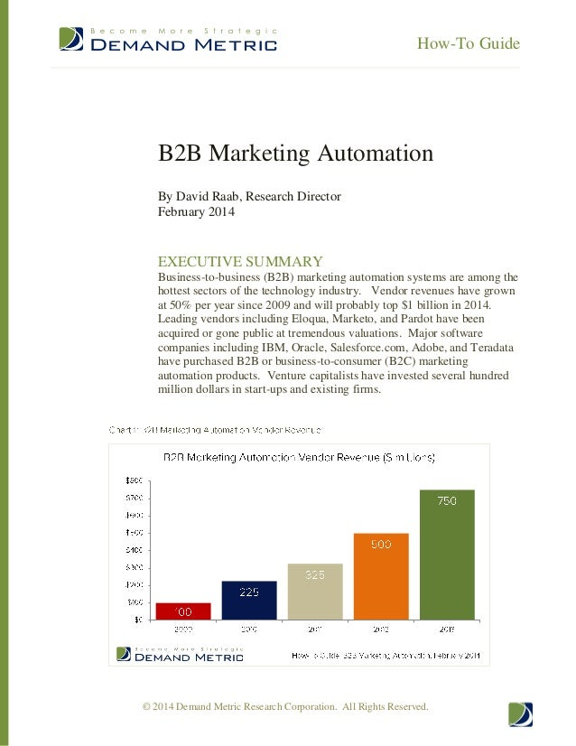 How-To Guide  B2B Marketing Automation By David Raab, Research Director February 2014  EXECUTIVE SUMMARY Business-to-busin...