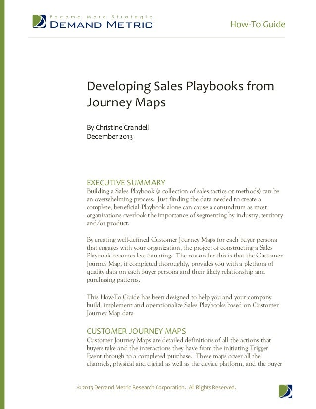 How-‐To Guide          Developing Sales Playbooks from  Journey Maps    By Christine Crandell  December 2...