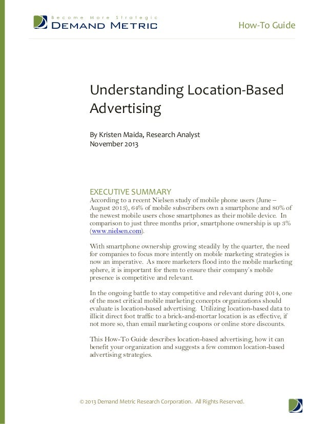 How-­‐To  Guide              Understanding  Location-­‐Based   Advertising      By  Kristen  Maida,  Research  Analyst   N...