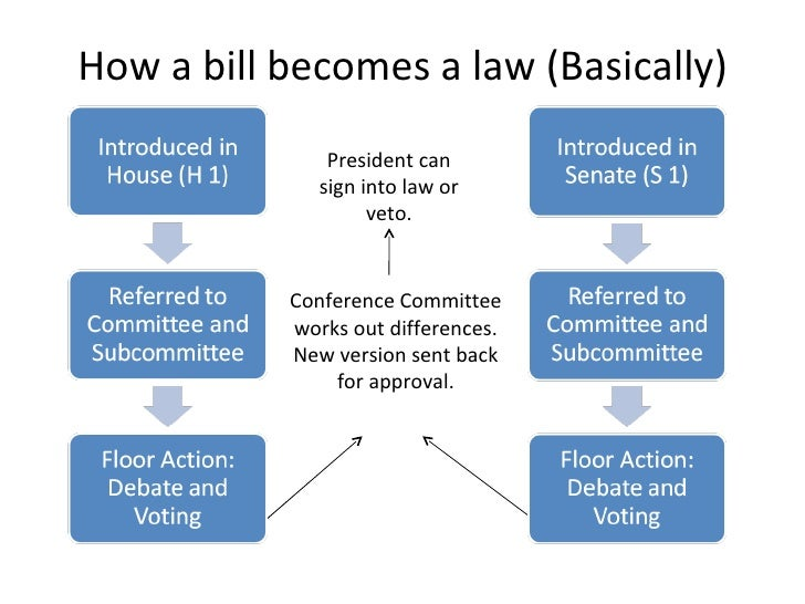 the process of a bill becoming How a bill becomes a law: a step-by-step guide  introduction of a bill  the official legislative process begins when a bill or resolution is introduced and given a.