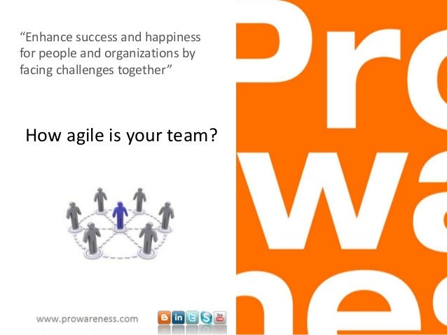 "How agile is your team? ""Enhance success and happiness for people and organizations by facing challenges together"""