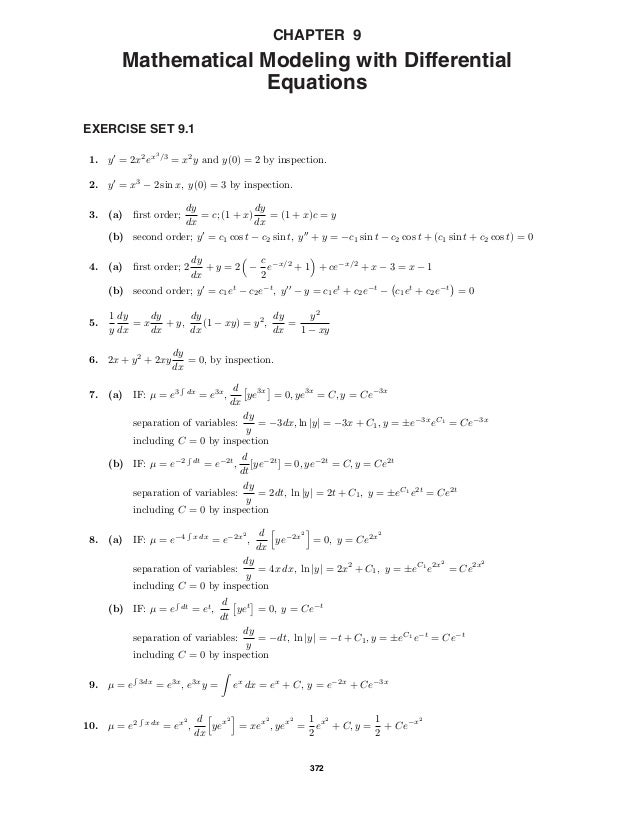 CHAPTER 9         Mathematical Modeling with Differential                      EquationsEXERCISE SET 9.1                  ...