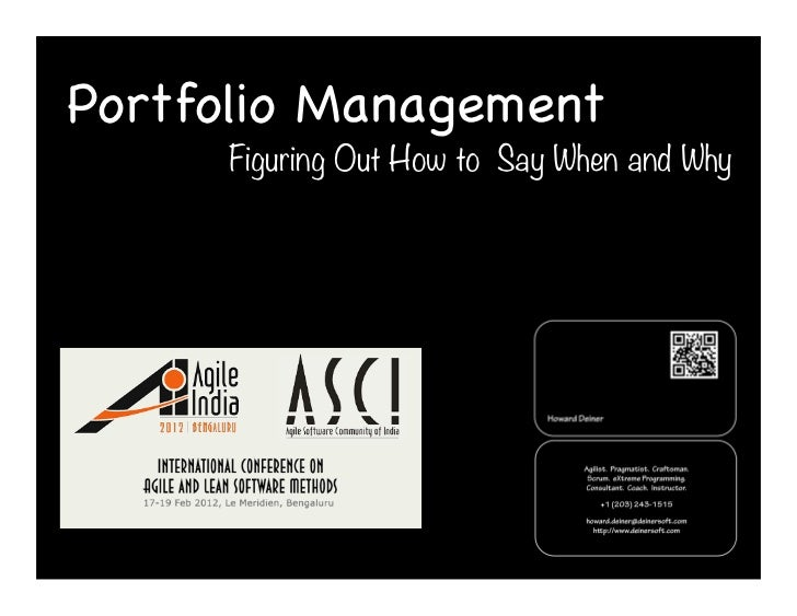 Portfolio Management - Figuring Out How to Say When and Why