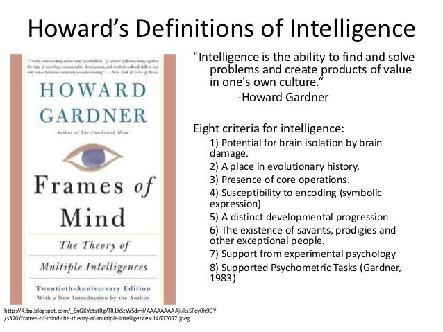 an analysis of howard gardners multiple intelligence theory published in his book frames of mind Howard gardner's multiple intelligences theory, and vak visual auditory  kinesthetic  the multiple intelligences concepts and vak (or vark or vact)  learning styles models  please remember that over-reliance on, or extreme  interpretation of, any  theory was first published in howard gardner's book,  frames of mind.