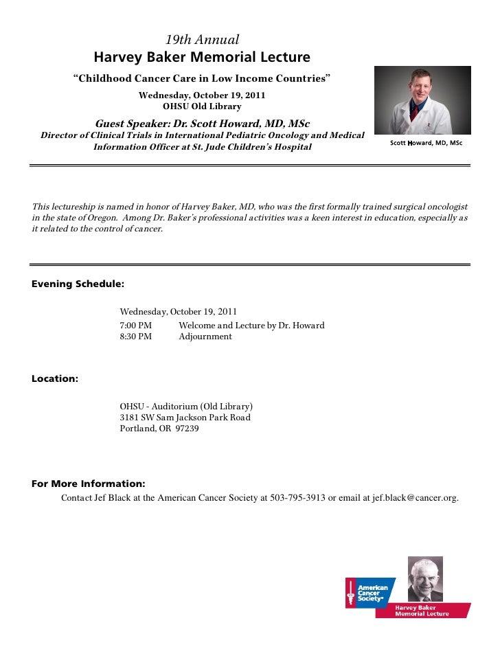 Baker Memorial Lecture 2011