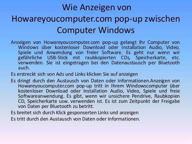 Wie Anzeigen von Howareyoucomputer.com pop-up zwischen Computer Windows Anzeigen von Howareyoucomputer.com pop-up gelangt ...
