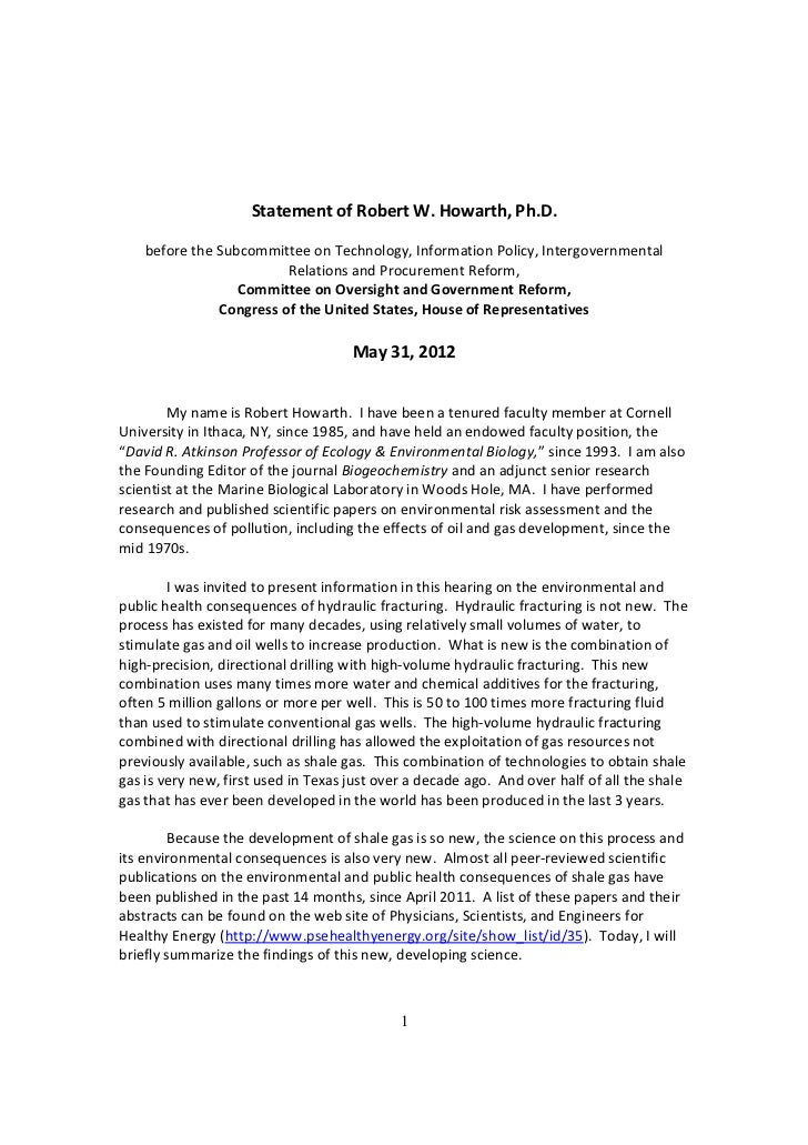 Statement of Robert W. Howarth to Congress on the Dangers of Fracking