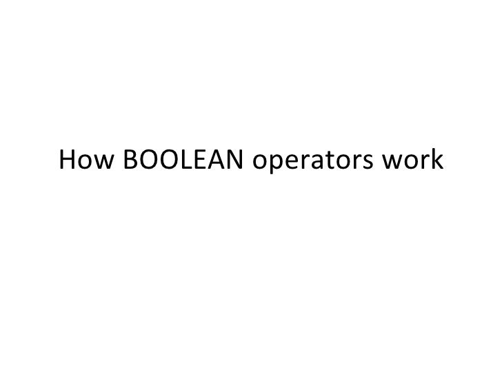 How BOOLEAN operators work
