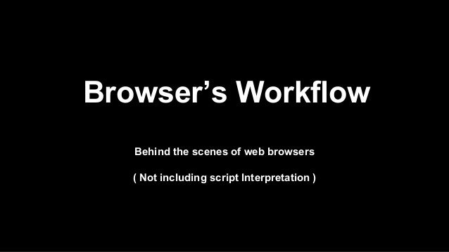 Browser's Workflow Behind the scenes of web browsers ( Not including script Interpretation )