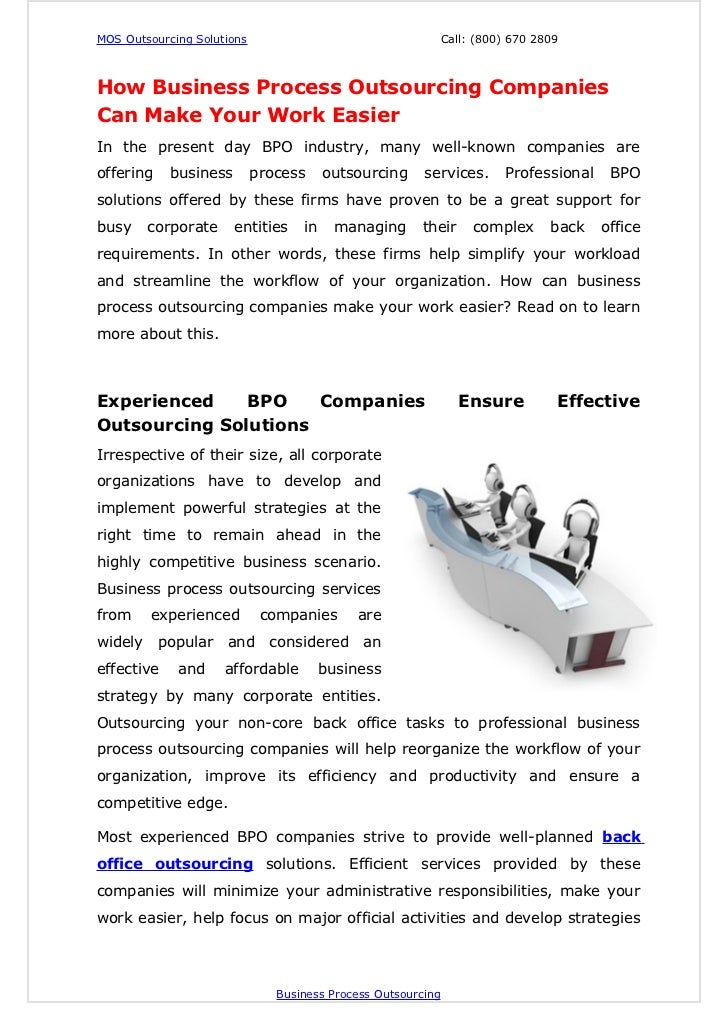 MOS Outsourcing Solutions                                     Call: (800) 670 2809How Business Process Outsourcing Compani...