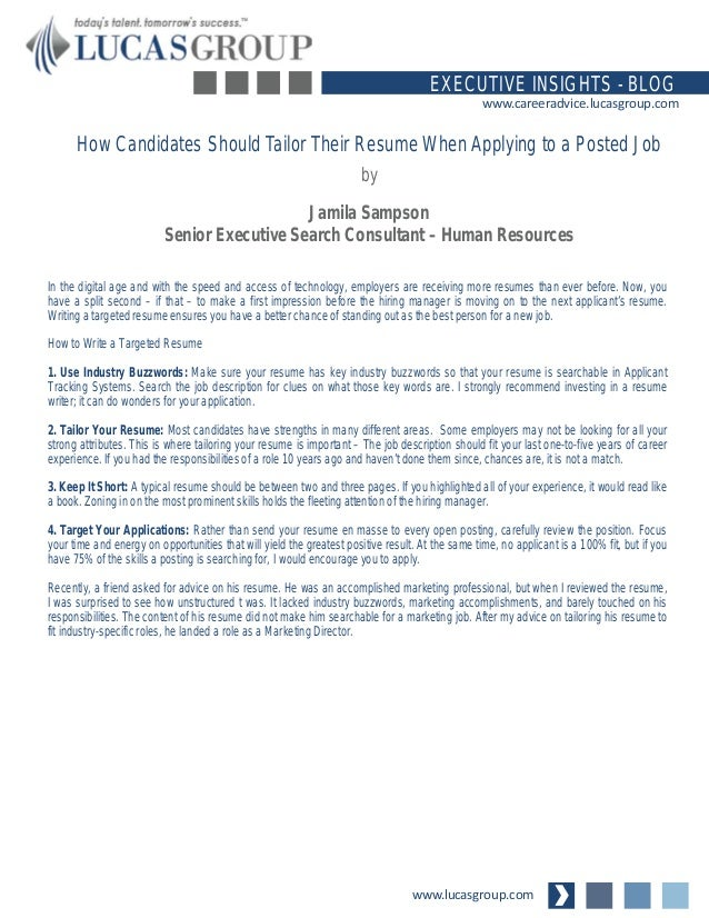 how candidates should tailor their resume when applying to