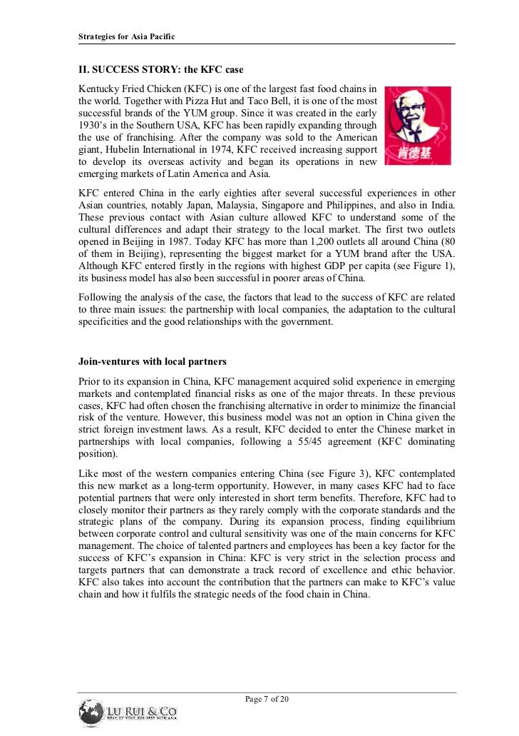 business strategy - kfc company essay Kfc´s reputation and action plan in  and the excellent marketing strategy it has kfc will  confidence to do business with company and to.