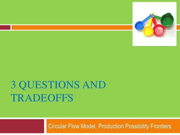 3 questions and Tradeoffs<br />Circular Flow Model, Production Possibility Frontiers <br />