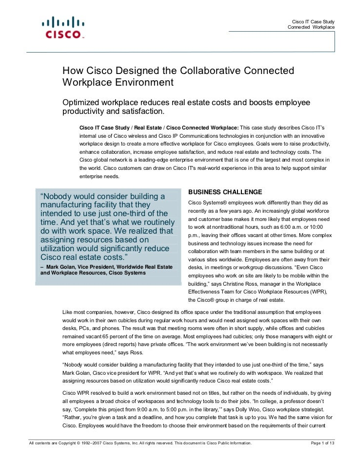 How Cisco Designed The Collaborative Connected Workplace Environment