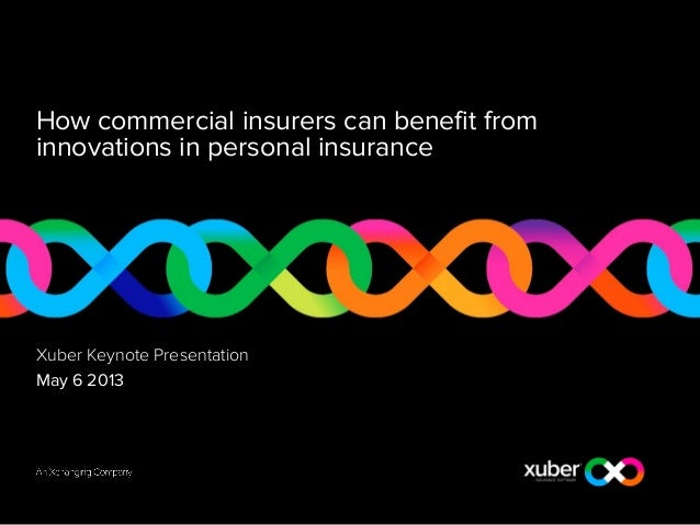 How commercial insurers can benefit frominnovations in personal insuranceXuber Keynote PresentationMay 6 2013