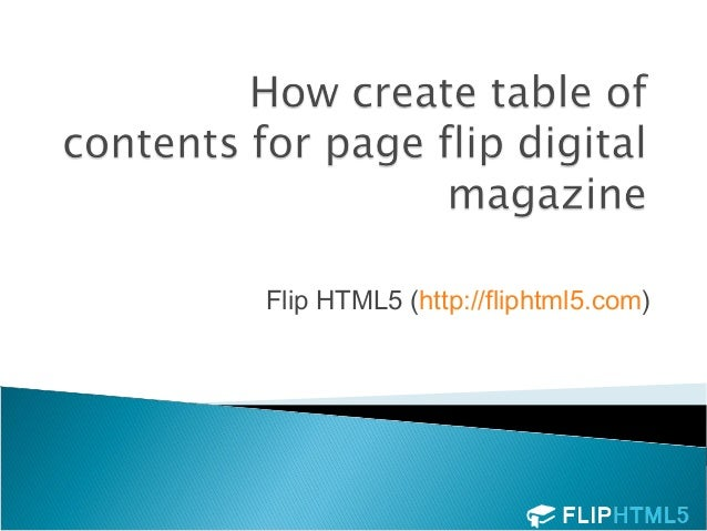 How create table of contents for page flip | Flip HTML5